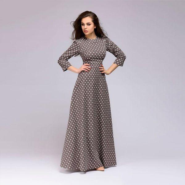 Wave Point Long Dress Women Vintage Style O-neck Three Quarter Sleeve Elegant Vestidos Spring Summer Casual Dress