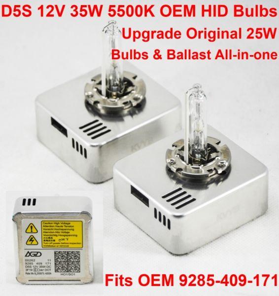 1 Paar 12V 35W D5S OEM VERSTECKTE Xenonscheinwerfer-Ersatzlampe Ballast All-in-One Weiß 5500K OEM 9285-409-171 Verbesserte Original 25W D1S D3S