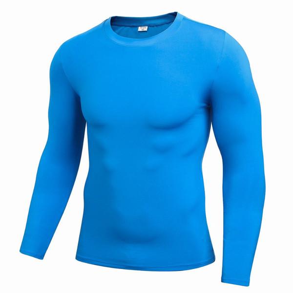 Caliente del resorte del otoño de los hombres largo elástico Deportes manga de compresión de baloncesto de running Camisetas de secado rápido aptitud W1