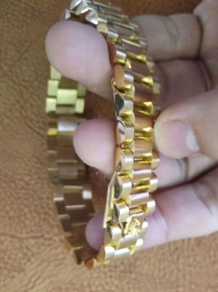 watch band link chain 15mm Stainless Steel Golden Crown President Style Bracelet Watch Band Strap Solid Links DJ Bracelet Bangle
