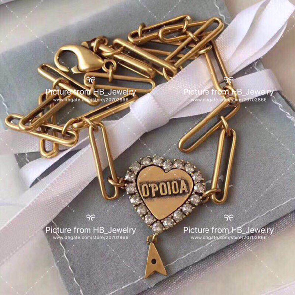 top popular Fashion love pendant initial letter heart necklace for lady women Party wedding lovers gift engagement jewelry for bride With BOX 2021