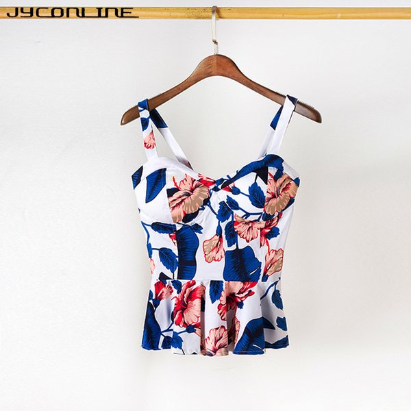Jyconline Floral Bustier Tank Summer Crop Fashio Sexy Vest Camis Women Tops Cropped Feminino Ruffles Bralette Top J190622