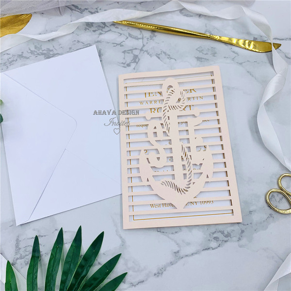 best selling Pearl Blush Laser Cut Unique Wedding Invitations, Customizable Invites For Beach Wedding, Free Shipped by UPS