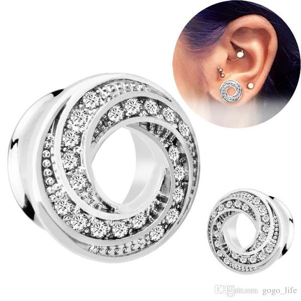 Tapones para oídos y túneles de acero inoxidable 2 piezas, tapón para los oídos de oro rosa de plata
