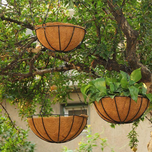 Flower Hanging Basket Wrought Coconut Flowerpot Rattan Decorative Pots Wall Iron Garden Balcony Home Planter