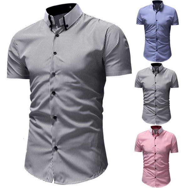 2019 New Fashion Short Sleeve Shirt Men Slim Design Formal Casual Male Dress Shirt Size 3 Color Men Slim Casual Top Blouse