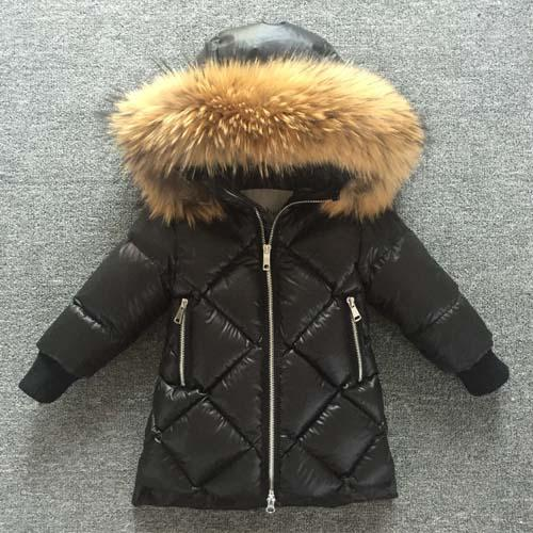 Piumino lungo da bambina Piumino da bambina Cappotto lungo da bambino Cappotto di pelliccia di volpe naturale Cappotto di pelliccia di procione