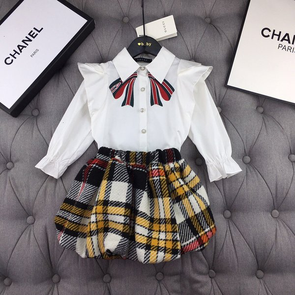 Girls set super soft shirt fabric + color matching plaid skirt 2pcs fashion butterfly collar shirt lantern mushroom skirt