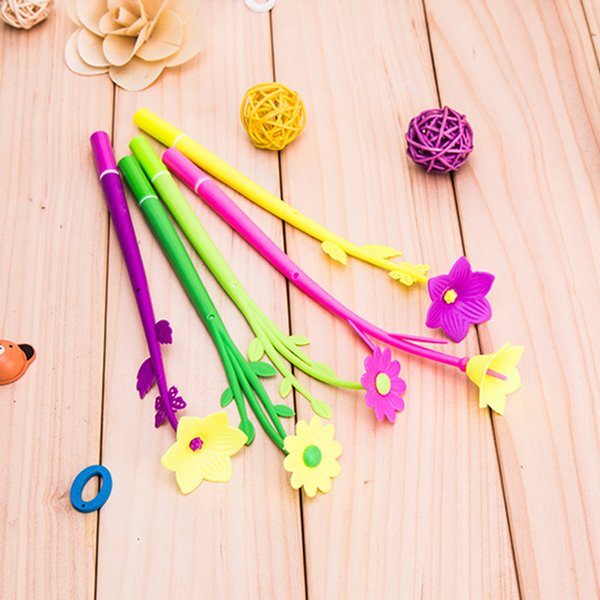 best selling Silicone Colorful Creative Cute Flower Gel Pens Stationery Office School Supplies Gift Simulation Handles Rod