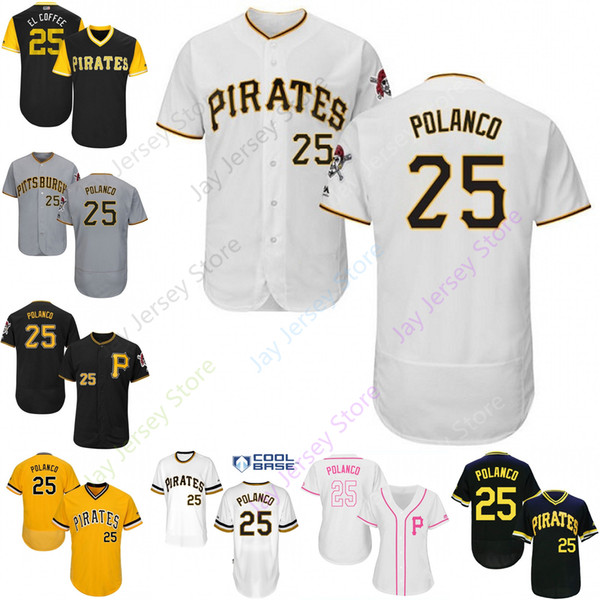 new concept fe4aa 718e6 2019 2019 Pittsburgh 25 Gregory Polanco Jersey Pirates Jerseys Cool Base  Flexbase Home Away White Black Red Grey Pullover Button Men Women Youth  From ...
