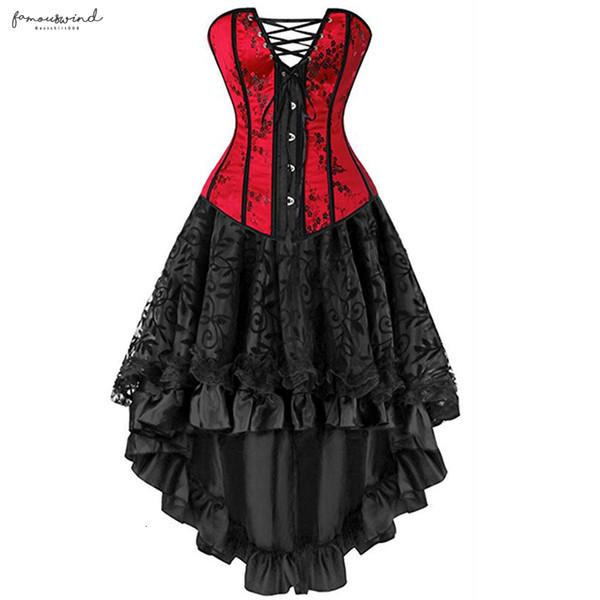 Размер Платья Плюс Сексуальный костюм Overbust Бурлеск корсет и юбка белье Установить Пачка Мода викторианской корсеты Красный