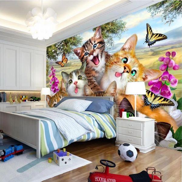 Lovely cat Wallpaper Custom 3D Wall Mural Cartoon Pet shop Photo Wallpaper Kids Girls Bedroom Living Room Sofa TV Background Rood decor