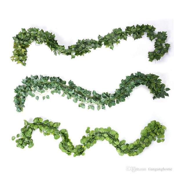 High Quality 12pcs /Lot Long Artificial Plants Green Ivy Leaves Artificial Climbing Tiger Grape Vine Fake Foliage Leaves Wedding Home Decor