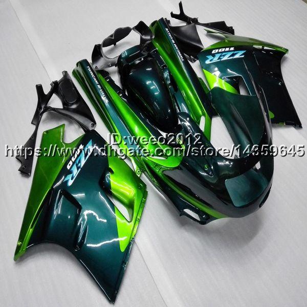 Flaschen + Geschenke grün blau Motorrad Verkleidung für Kawasaki ZX11 ZX11R 1990 1991 1992 ABS Kunststoff Verkleidung