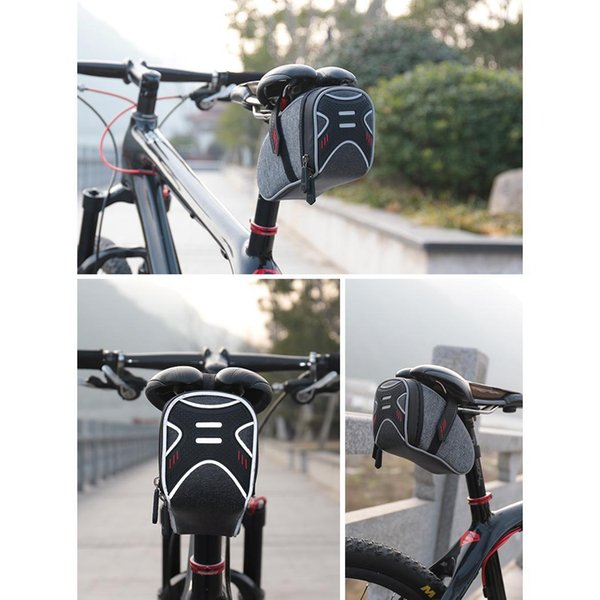 Large Capacity Rainproof Reflective Bicycle Seatpost Tail Bag Bike Outdoor Cycling Saddle Below 6.2inches Bag