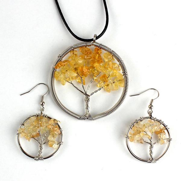 FYJS Unique Silver Plated Wire Tree of Life Pendientes colgantes Conjuntos de joyas de cristal citrinos amarillos naturales