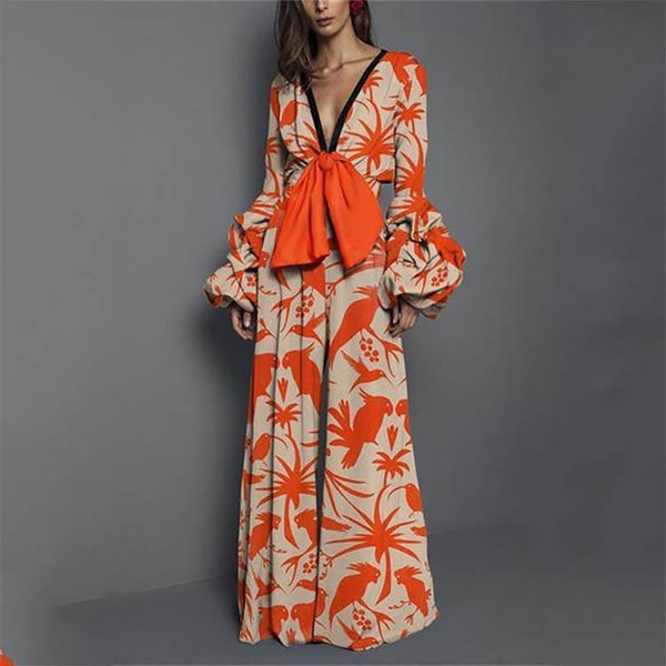 Fashion Women Lantern Sleeve Print Jumpsuits Sexy V-Neck Wide Leg Jumpsuits Bohemian Ladies Long Sleeve Romper