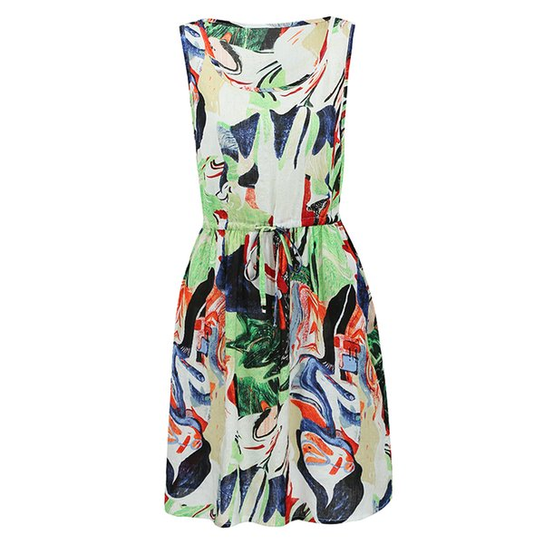 5XL Plus Size Dress Fashion Loose Graffiti Print Midi Dress O Neck Drawstring Waist Sleeveless Pocket Casual Summer Dress 2018