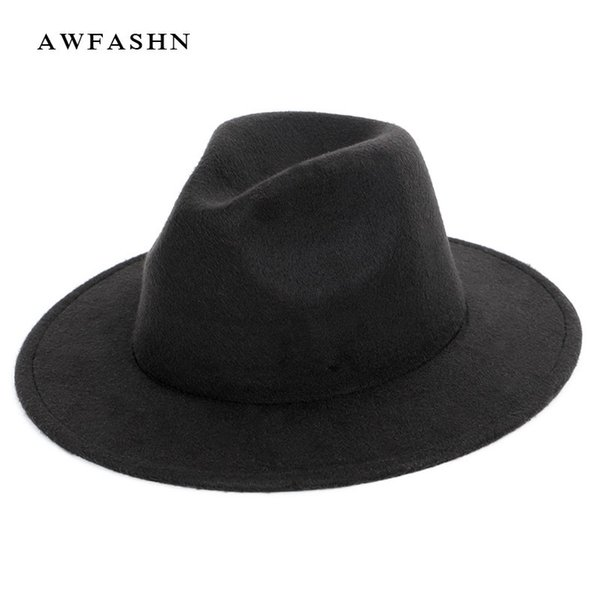Nueva moda de color sólido de lana Fedora Otoño Invierno de las mujeres del sombrero de fieltro Lana de los hombres Jazz Top Hat Señoras Vintage clásico de gran tamaño hombre D19011102