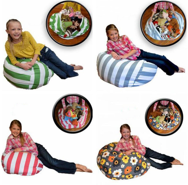 16 18 24 inch Large Size Storage Bean Bags Beanbag Chair Kids Bedroom Stuffed Animal Dolls Organizer Plush Toys Bags Baby Play Mat
