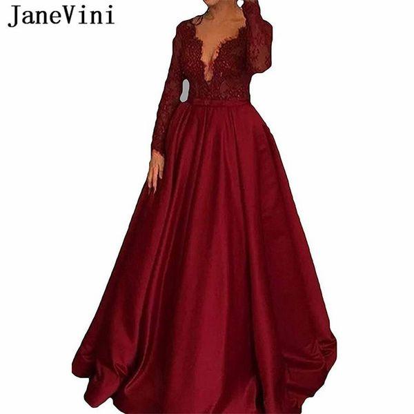 JaneVini élégantes arabe bordeaux une ligne dentelle manches longues robes de bal 2019 profond col en V perlé fermeture à glissière retour satin formelle robes de soirée