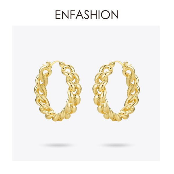wholesale Punk Small Link Chain Hoop Earrings For Women Gold Color Round Hoops Earings Fashion Jewelry Pendientes Mujer E191088