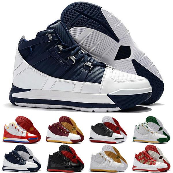 LeBron III 3 2019 Nouvelle Arrivée # 23 Zoom Accueil SuperBron Chaussures de Basketball pour Hommes de haute qualité. Blanc Bleu Rouge Noir James 3s Sports Sneakers