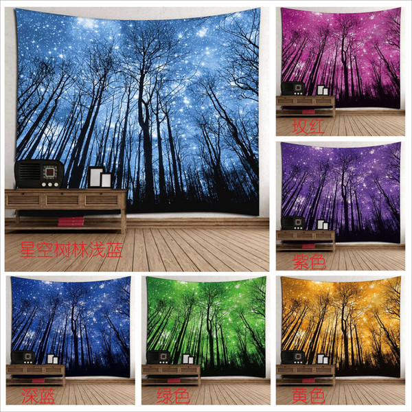 Wald Bäume Tapestry Sterne Sternenhimmel Galaxy Wandbehang 150 * 130 cm Tagesdecke Dekor Strand Werfen Yoga-Matte mit Schaltuch