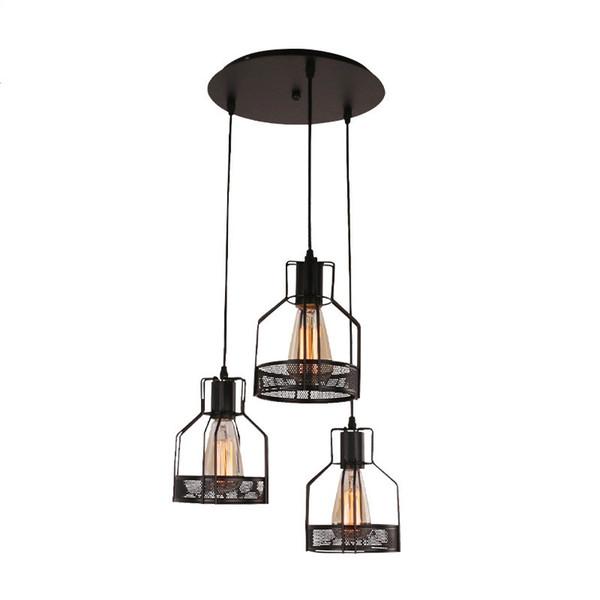 vento industriale che ristabilisce ha portato piccolo droplight gabbia in ferro battuto Net Cafe pasto appeso bar luce della lampada