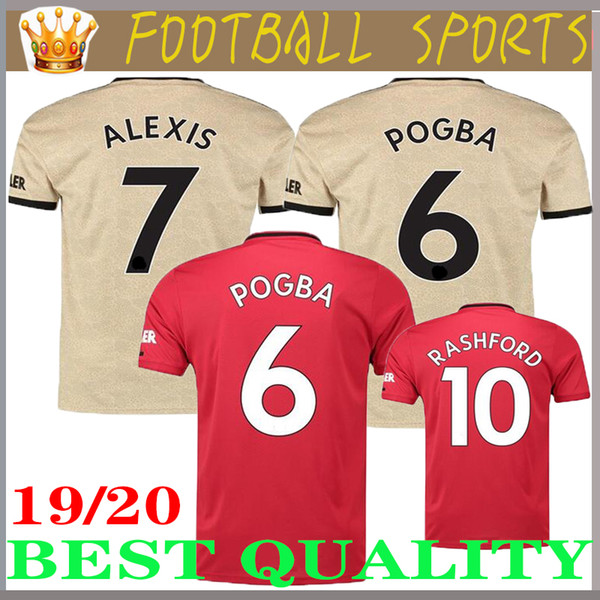 19 20 pogba alexi occer jer ey lukaku mata ra hford home away 3rd men football hirt new martial lingard matic hort leeve uniform, Black;yellow