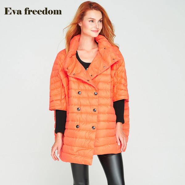 2017 Ultra Light Down Jacket Women Cloak Coat Female Warm Loose Fit Fashion Long Bat Sleeve Duck Down Coat Jacket