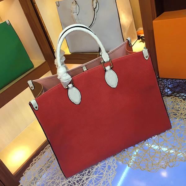 top popular Large Shopping bags 41cm Designer Shoulder Bag Contrast Color Beach bags Genuine Leather Handbag Crossbody Purse Messenger Handbags 2019