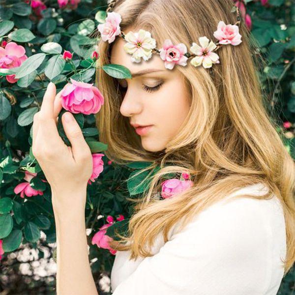 M MISM Cute Women Elastic Flowers Headband Elegant Wedding Flora Hair Accessories For Girls Bridal Flowers Rubber Hair Band