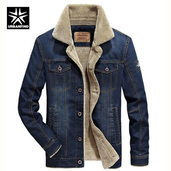 URBANFIND M-6XL Men Jacket and Coats Brand Clothing Denim Jacket Fashion Mens Jeans Thick Warm Winter Outwear Male Cowboy
