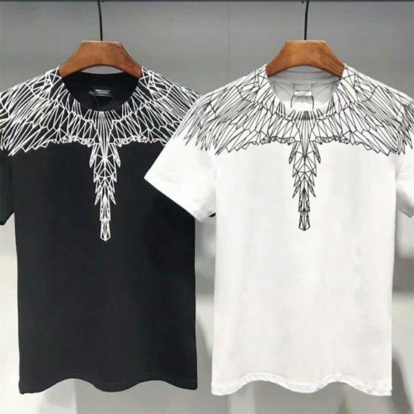 Marcelo Burlon Mens Designer Camisas Preto Branco Asas de Anjo Dos Homens Das Mulheres Designer de Moda T Camisas MB de Manga Curta M-XXL