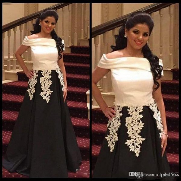 2019 New Saudi Arabic Black White Prom Dresses Off The Shoulder Lace Appliques Evening Gowns Satin A Line Formal Party Dress Custom Made