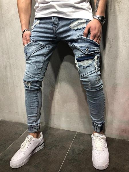 Vogue Омывается мужские джинсы Весна New Light Blue Разорванные Карманы Дизайнер Capris Жан Pants