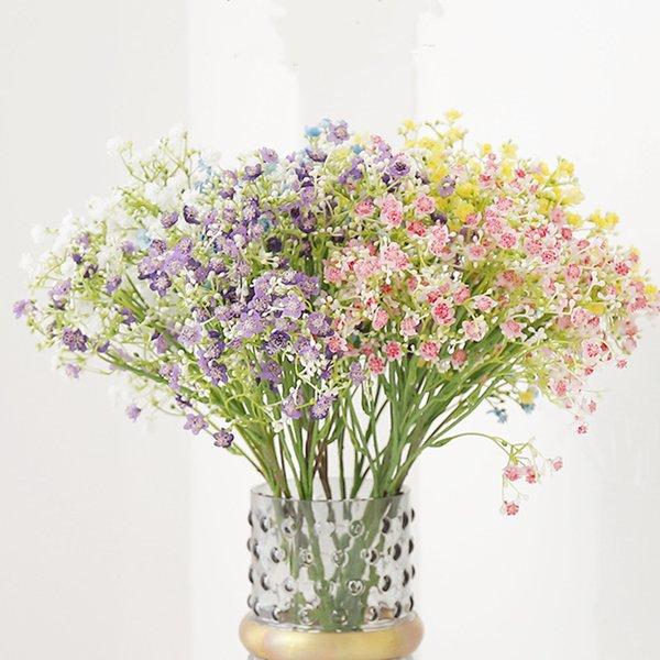 6 fiori artificiali in stile colorato Gypsophila gambo lungo fiori finti bouquet respiro seta fiore decorazione di cerimonia nuziale T2I5333