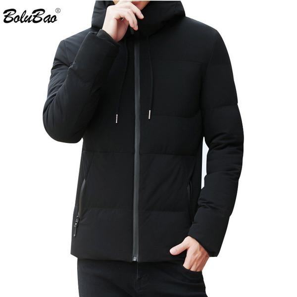 BOLUBAO Mann-Winter-Parka-Jacke 2019 Herrenmode Marke einfache feste Farbe mit Kapuze Outwear Männer beiläufigen bequemen