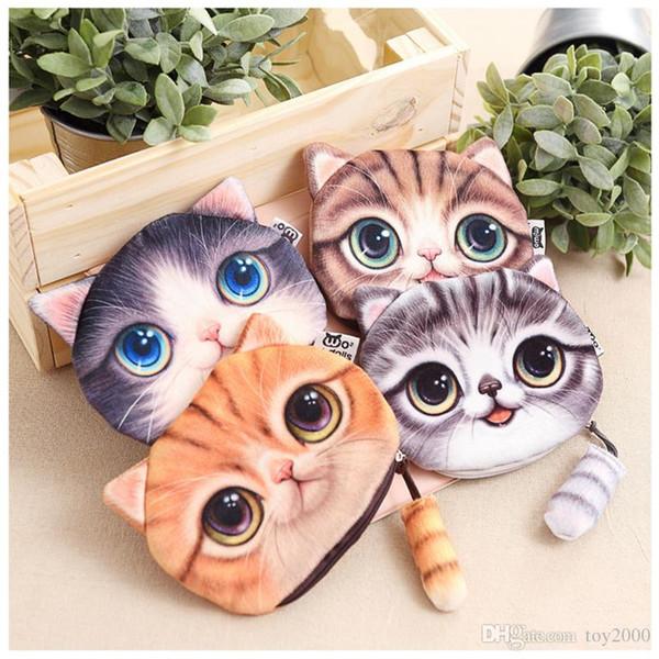 Stampa 3D Cat face Portamonete Animal Small Purse Portamonete donna Zipper Porta auricolari Porta trucco cosmetico Zero Portafogli animali imbalsamati peluche