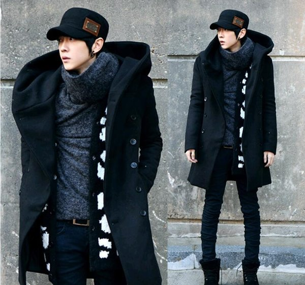 2017 Fashion Winter-Herren Pea Coat mit Kapuze Zweireihig Lange Wolle Trenchcoat Men Overcoat Grau Schwarz Plus Size M-3XL