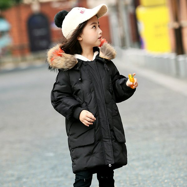 Kids Jackets for Girls Winter Coat Fashion Children Padded Coat Hooded Fur Collar Winter Thick Warm Outerwears Jacket Parkas