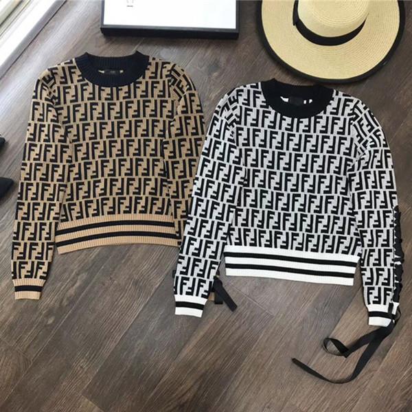 Medusa brand contrast color pick-up F letter jacquard sweater left shoulder strap knit jacket top