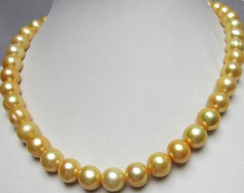 11-12mm de agua dulce, barroco perla oro kolye18 inç de plata