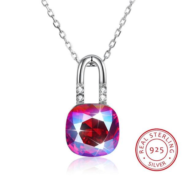 Quadratische Kristalle von Swarovski Element Anhänger Halsketten Fashion Lock Kette Collares für Frauen echte 925 Sterling Silber Schmuck