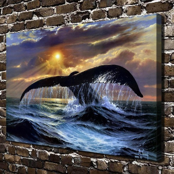Animal Whale,Home Decor HD Printed Modern Art Painting on Canvas (Unframed/Framed)