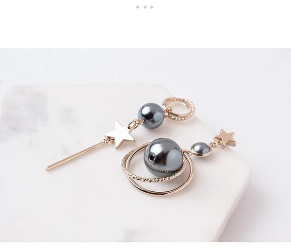 Popular Adorn Feel Asymmetrical Geometrical Modelling Star pearl Hyperbole Earring Japanese and Korean Vogue individual Character