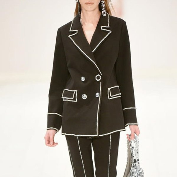Womens Small Suit Jacket Fashion Stitching Diamond Suit Female Color Lapel Split Long-sleeved Slim Loose Jacket Female 2019 New