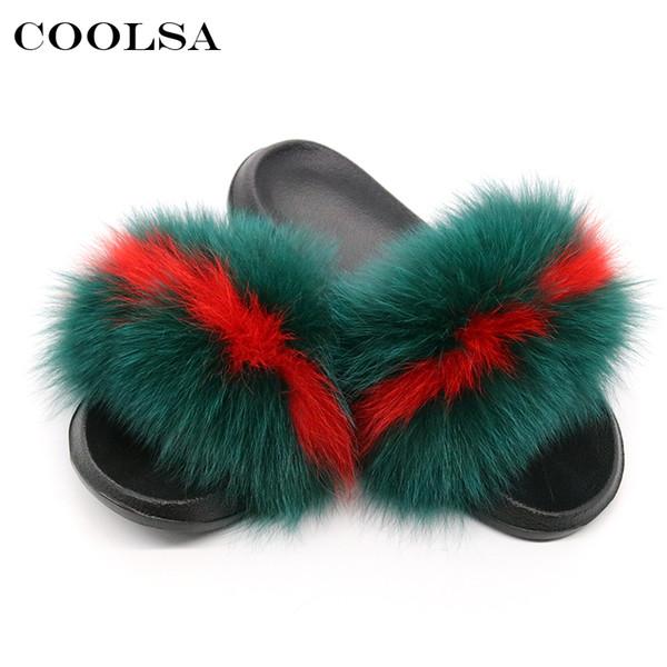 Coolsa Yaz Kadın Tilki Kürk Terlik Gerçek Tilki Saç Slaytlar Kadın Kürklü Kapalı Çevirme Rahat Plaj Sandalet Kabarık Peluş Ayakkabı T8190701