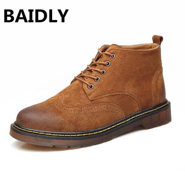 Baidly Echtes Leder Männer Stiefel Frühjahr / Herbst Stiefeletten Mode Hohe Schuhe Echtes Leder Vintage Männer Schuhe Plus 28-57